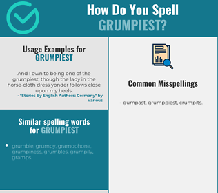 Correct spelling for grumpiest