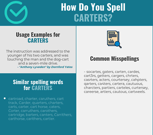 Correct spelling for carters