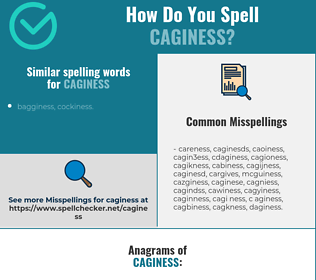 Correct spelling for caginess