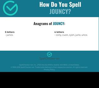 Correct spelling for jouncy
