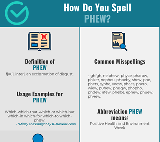 Correct spelling for phew