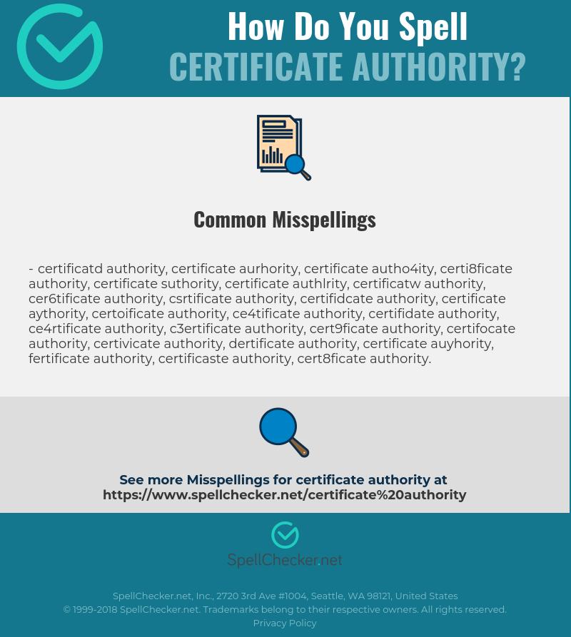 Correct Spelling For Certificate Authority Spellchecker