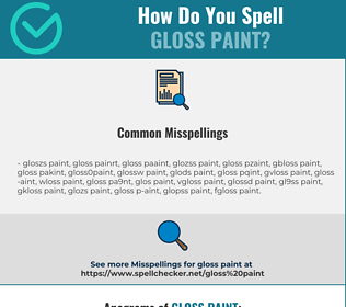 Correct spelling for gloss paint