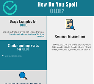 Correct spelling for olde