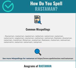 Correct spelling for Rastaman