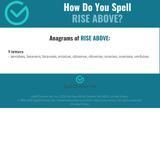 Correct spelling for rise above