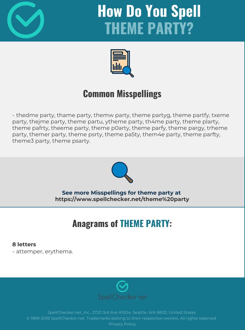 Correct spelling for theme party [Infographic