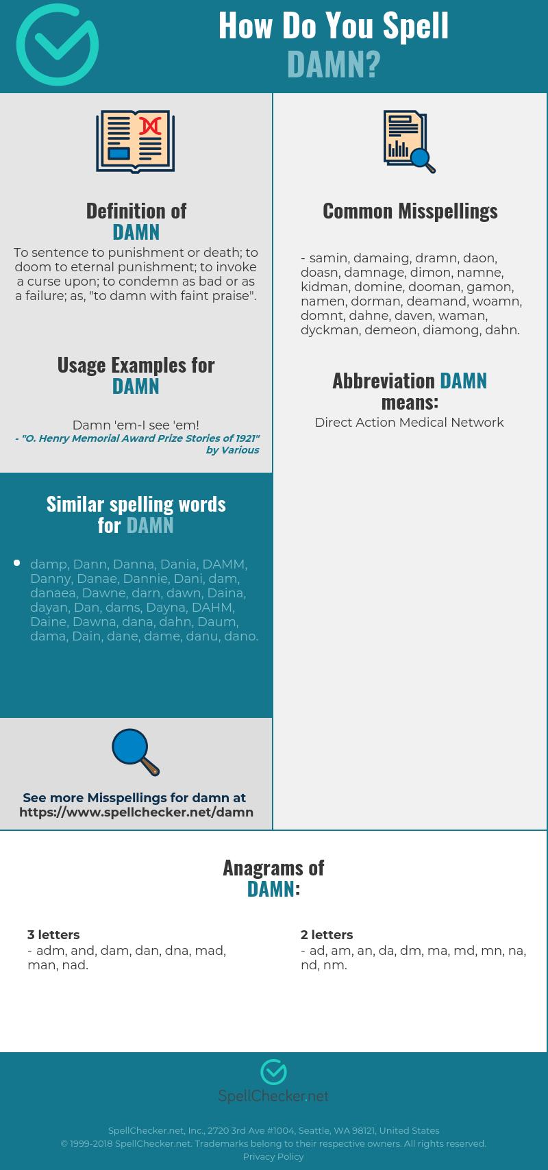 Correct spelling for damn [Infographic] | Spellchecker net