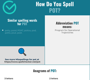 Correct spelling for pot