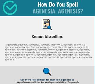 Correct spelling for agenesia, agenesis