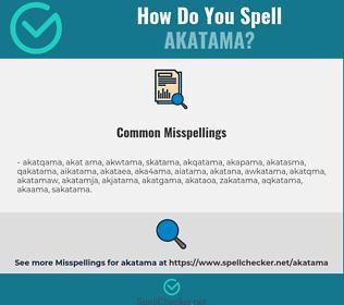 Correct spelling for akatama