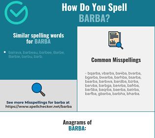 Correct spelling for barba