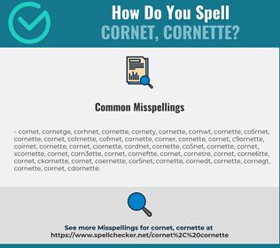 Correct spelling for cornet, cornette