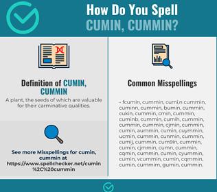 Correct spelling for cumin, cummin