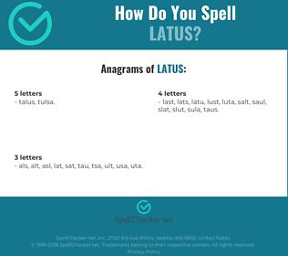 Correct spelling for latus