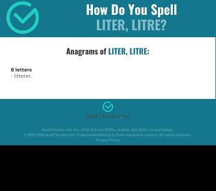 Correct spelling for liter, litre
