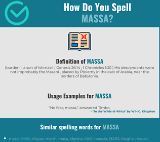 Correct spelling for massa