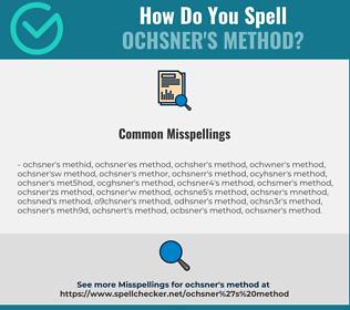 Correct spelling for Ochsner's method