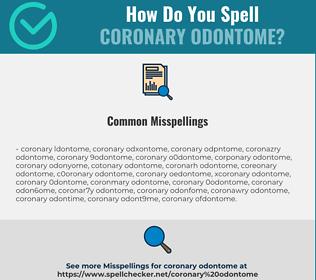 Correct spelling for coronary odontome