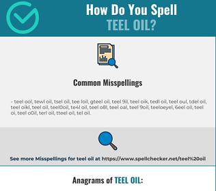 Correct spelling for teel oil