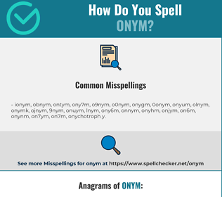 Correct spelling for onym