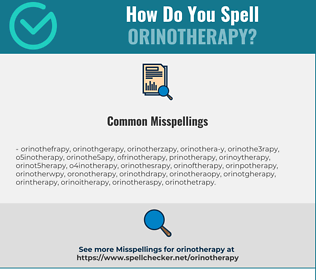 Correct spelling for orinotherapy