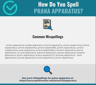 Correct spelling for Prana apparatus