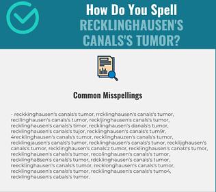 Correct spelling for Recklinghausen's canals's tumor