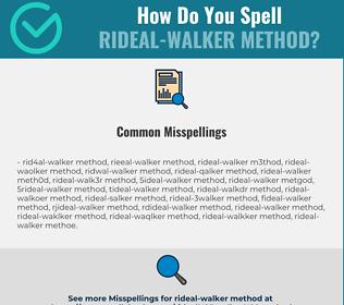 Correct spelling for Rideal-Walker method