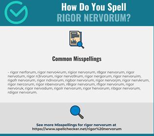 Correct spelling for rigor nervorum