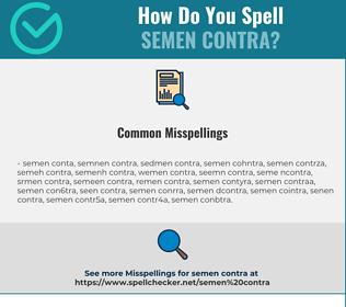Correct spelling for semen contra