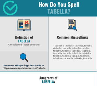 Correct spelling for tabella