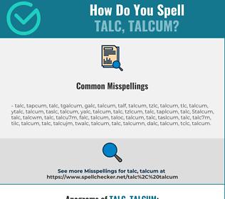 Correct spelling for talc, talcum