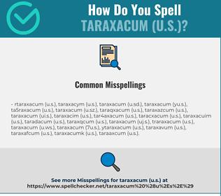 Correct spelling for taraxacum (U.S.)