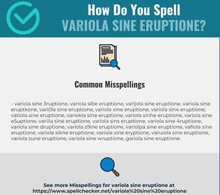 Correct spelling for variola sine eruptione