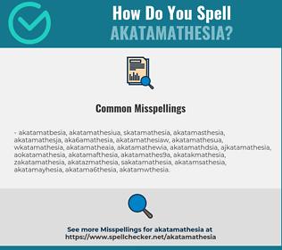 Correct spelling for Akatamathesia