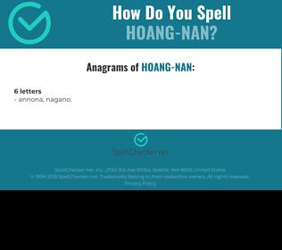 Correct spelling for Hoang-Nan