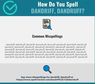 Correct spelling for dandriff, dandruff