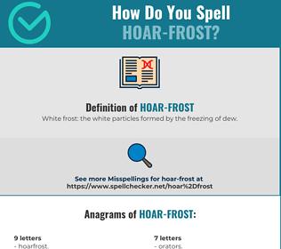 Correct spelling for hoar-frost