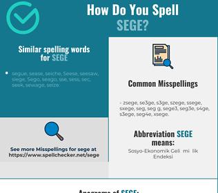 Correct spelling for sege