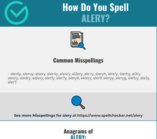 Correct spelling for alery