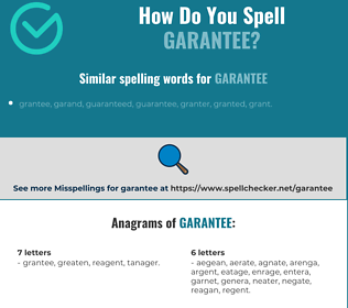 Correct spelling for garantee