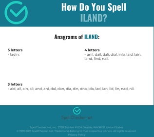 Correct spelling for iland