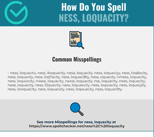 Correct spelling for ness, loquacity
