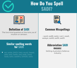 Correct spelling for sadi
