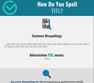 Correct spelling for titl