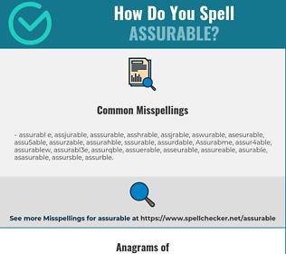 Correct spelling for Assurable