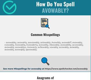 Correct spelling for Avowably