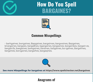Correct spelling for Bargaines