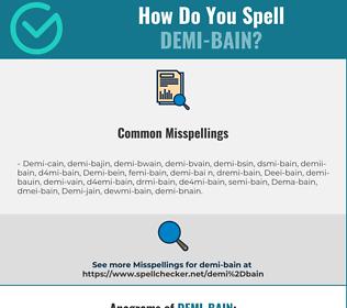 Correct spelling for Demi-bain